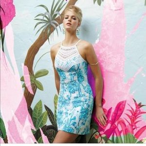 LILLY PULITZER PEARL LACE CROCHET NECK DRESS